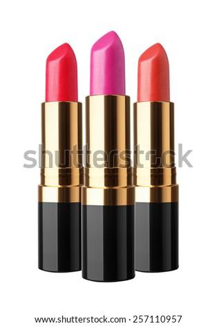 Set of lipstick isolated on white background - stock photo