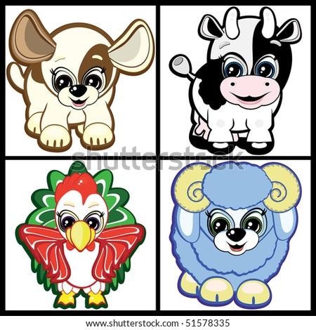 Set of Little Animals - Farm - stock photo