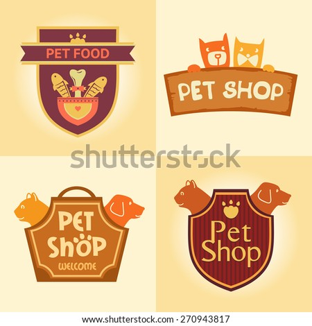 Set of  logos for pet shop, hotel. Animal welfare, quality service and useful food. - stock photo