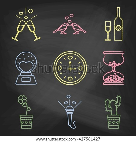Set of love icons painted with colorful chalk on a blackboard. Decorative icons for Valentine's day. Hands-drawn style. - stock photo