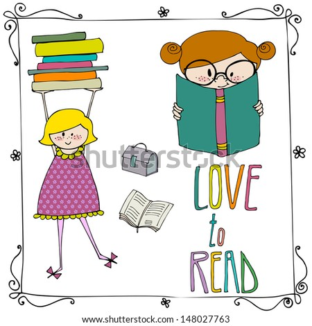set of Love to Read elements  - stock photo