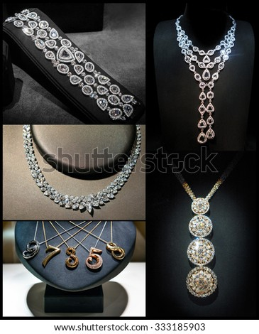 Set of luxury jewelry made of white gold or silver and diamonds. Luxury women accessories on stands. - stock photo