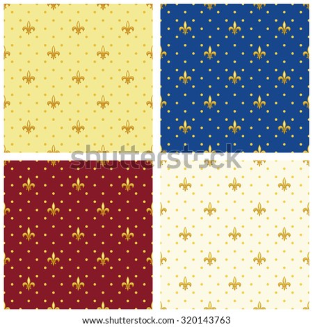 Set of luxury seamless patterns with vintage fleur de lis and polka dots background, ideal for curtains textile or bed linen fabric or interior wallpaper design etc - stock photo