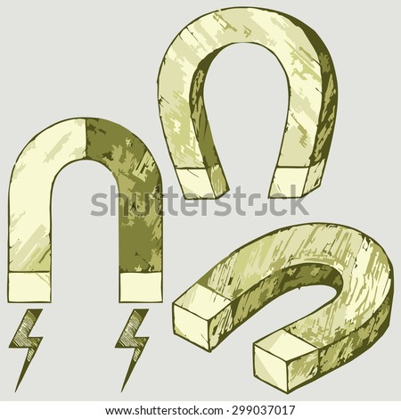 Set of magnets in the shape of a horseshoe. Raster version - stock photo