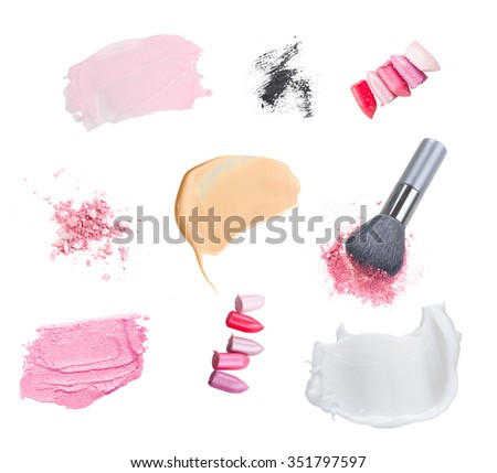 set of make up cosmetics and smears isolated on white background - stock photo