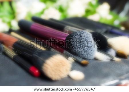 Set of makeup professional brushes - stock photo