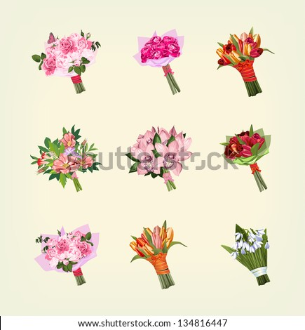 set of many bouquets of flowers - stock photo