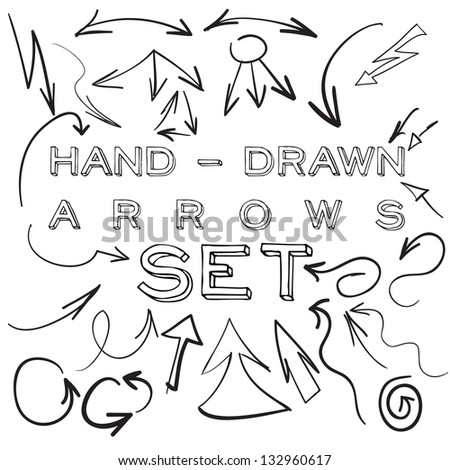 Set of many hand-drawn arrows isolated on white for your design or web site. - stock photo