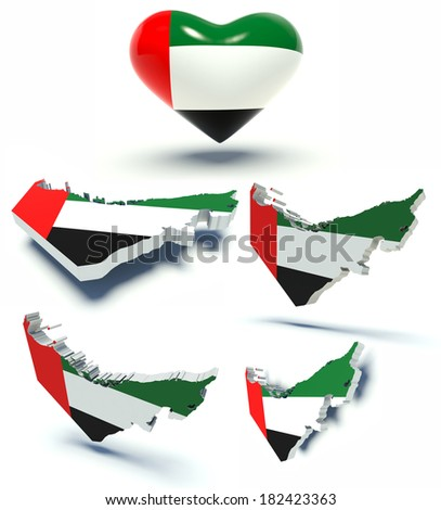 Set of maps of the United Arab Emirates and heart with emirati flag colors. 3d render illustration. - stock photo