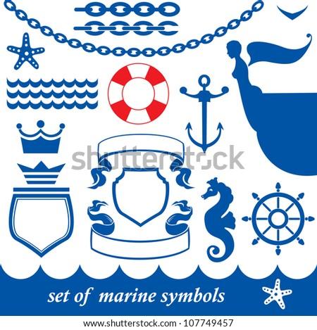 Set of marine elements - chain, anchor, crown, shield, wheel, noun, etc. Raster version - stock photo