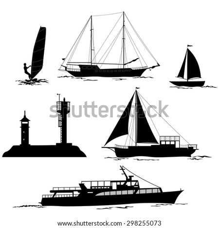 Set of Marine Vehicles and Objects, Ship, Sailboat, Yacht, Surfing Athlete, Lighthouses, Black Silhouettes Isolated on White Background - stock photo