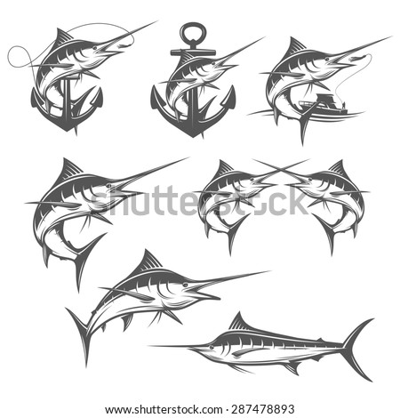 Set of marlin fishing design elements - stock photo