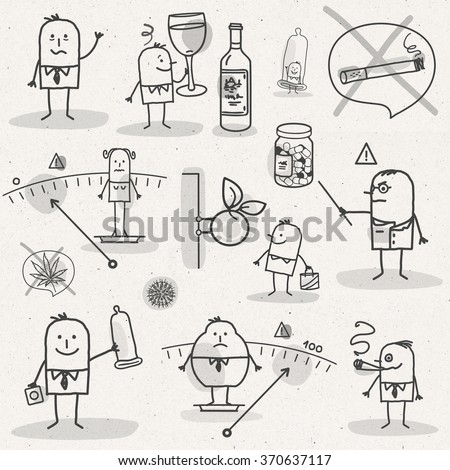set of medical black and white cartoons - LIFESTYLE AND ADDICTIONS - stock photo