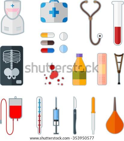 Set of medical flat icon - stock photo