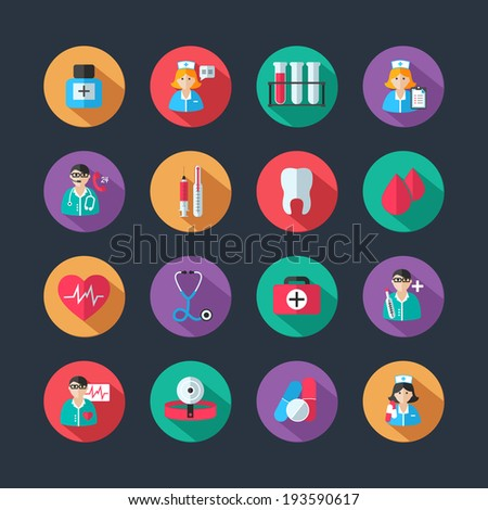 Set of medical healthcare icons and doctor hospital avatars with nurse heart isolated  illustration - stock photo