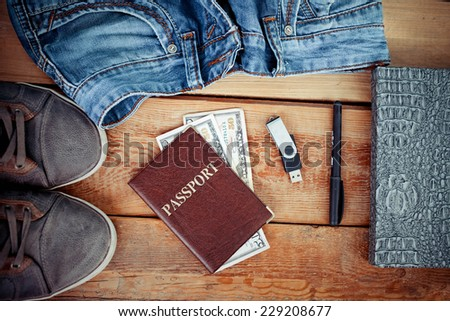 Set of men's clothing and accessories. - stock photo