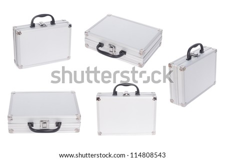Set of Metal case isolated on the white background - stock photo