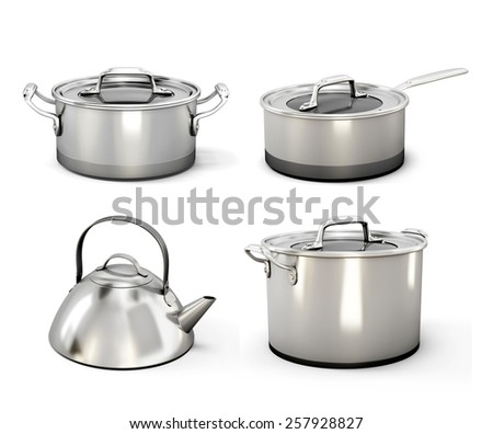 Set of metal utensils isolated on white background. 3d render image. - stock photo