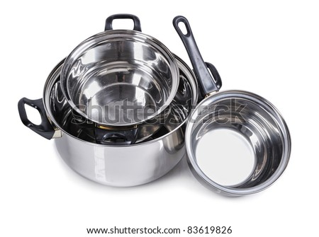 Set of metallic silver pan isolated on white - stock photo