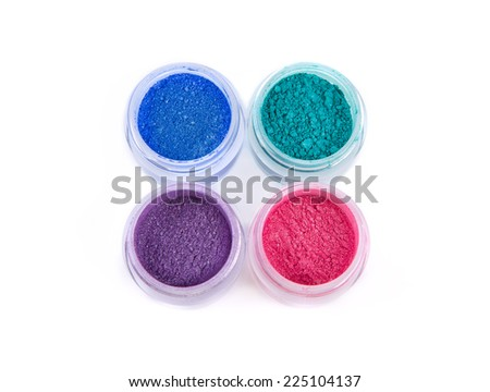 Set of mineral eye shadows in pastel colors, top view isolated on white background  - stock photo