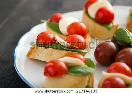 set of mini italian canapes - stock photo
