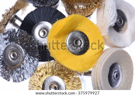 Set of mini rotary drill tools isolated on white background - stock photo