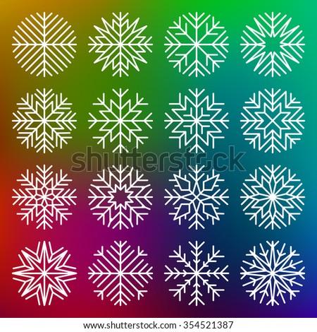 set of minimalist snowflakes on multicolor background - stock photo