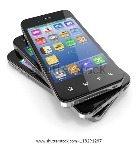 Set of mobile phones with touchscreen. 3d - stock photo