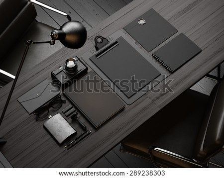 Set of mockup elements on the wood table. 3d render - stock photo