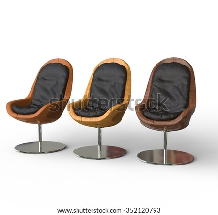 Set Of Modern Armchairs - stock photo