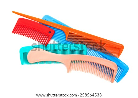 Set of modern comb on a white background - stock photo
