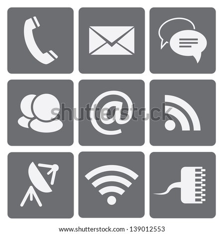 Set of modern communication signs and icons - stock photo