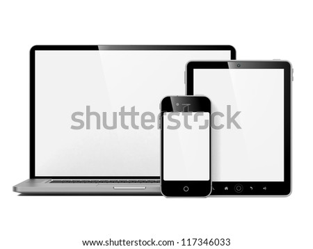 Set of Modern Computer Equipment. Isolated on White. - stock photo