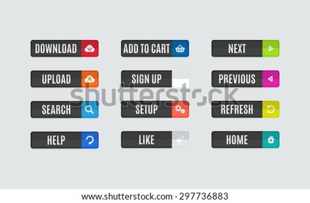 Set of modern flat design website navigation buttons. Rectangle shape. Help like search download upload setup sign up add to cart next previous refresh home icons - stock photo