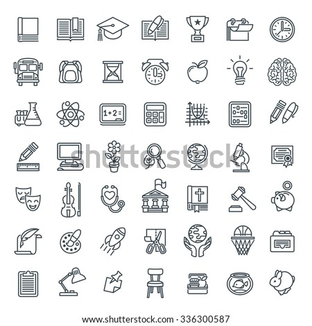 Set of modern flat line art icons of school subjects, activities, education and science symbols on white. Concepts for web site, mobile or computer apps, infographics, presentations, promotion - stock photo
