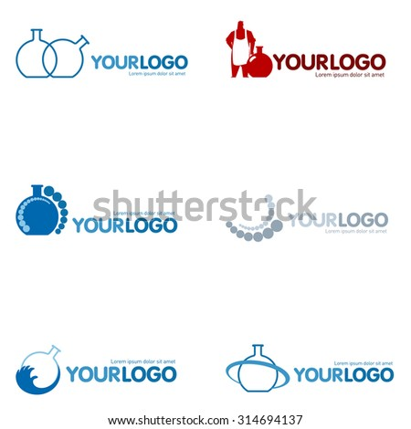 Set of 9 Modern logo design set: logotypes for different companies, as web agency, start-up, software house, engineering, R&D, chemical, pharmaceutical industry, business, consulting and optimization - stock photo