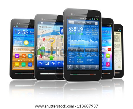 Set of modern touchscreen smartphones with applications on screens isolated on white background with reflection effect - stock photo
