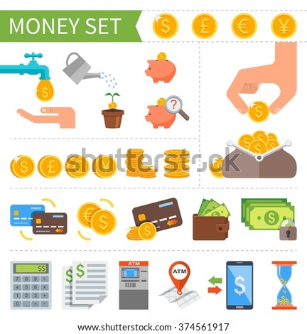 Set of Money and Finance icons in flat style. Design elements for web and mobile applications. Business pictogram collection. - stock photo