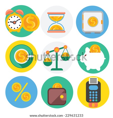 Set of money, finance, banking icons flat design cartoon style. Raster version - stock photo
