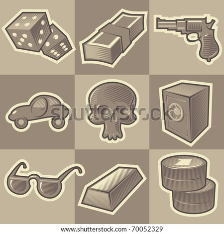 Set of monochrome gangsta retro icons. Hatched in style of engraving. Raster version. Vector version is also available. - stock photo