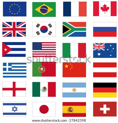set of most important flags - stock photo