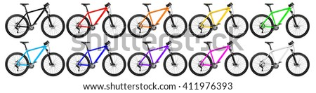 set of mountain bikes in many colors isolated on white background - stock photo