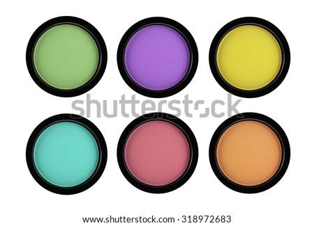 Set of 5 multicolored eye shadows isolated on white isolated on white background - stock photo