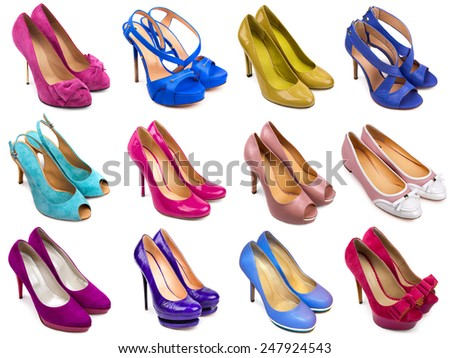 Set of multicolored female footwear on white background - stock photo
