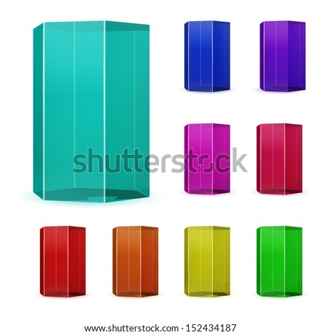 Set of multicolored glass prisms. Raster version. - stock photo