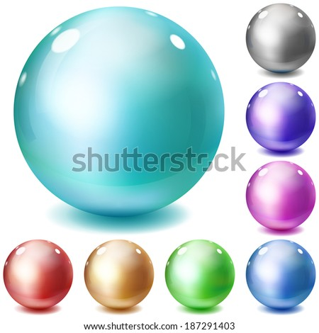 Set of multicolored glossy spheres with shadows on white background. Raster version. - stock photo