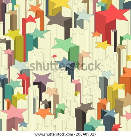 Set of multicolored lucky stars. Raster version - stock photo