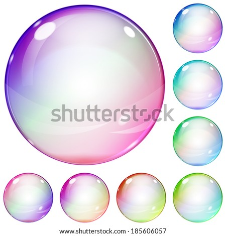 Set of multicolored transparent glass spheres on white background. Raster version. - stock photo