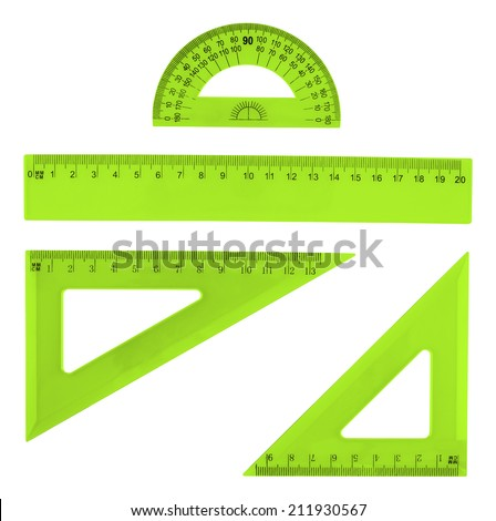 Set of multiple green plastic rulers and the protractor, isolated over the white background - stock photo
