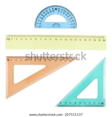 Set of multiple plastic rulers and the protractor, isolated over the white background - stock photo